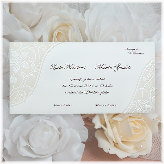 Embossed Pearl Wedding Invitation