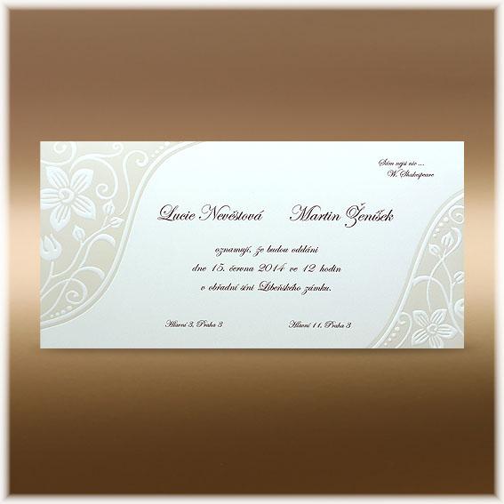 Perleťové svadobné oznámenie s kvety