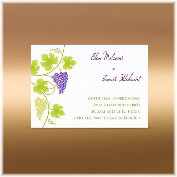 Svatební oznámení hroznové víno