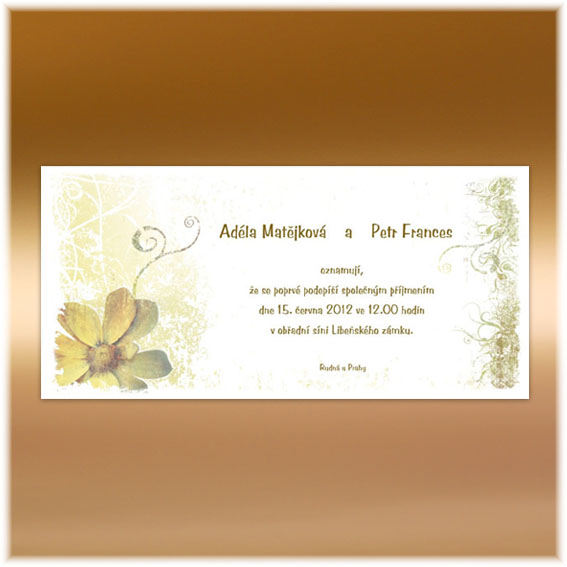 Vintage Wedding Invitations with flowers