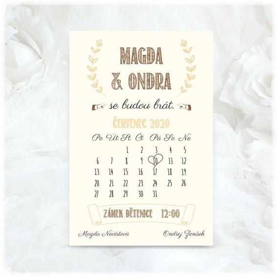 Svatební oznámení jako kalendář