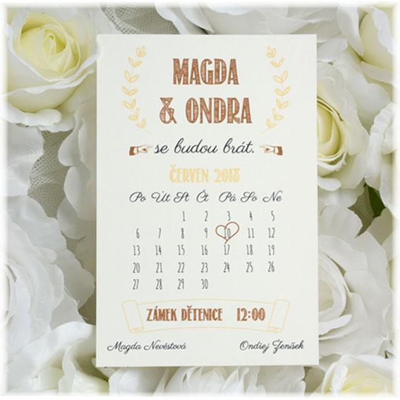 Svatebné oznámenie ako kalendár