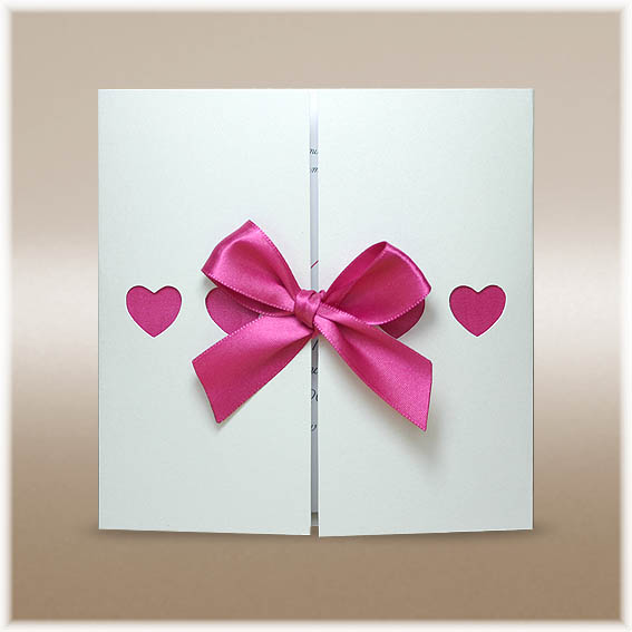 Pink Wedding Invitations with hearts