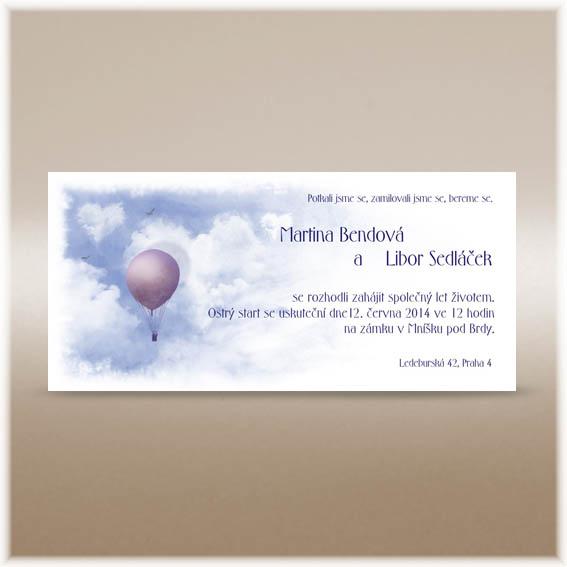 Svatební oznámení s balonem a mraky