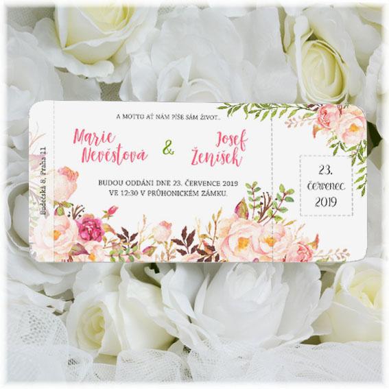 Svadobné oznámenie kvetinová pozvánka