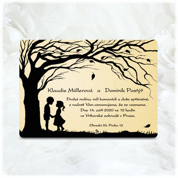 Romantic Wedding Invitations pair under the tree