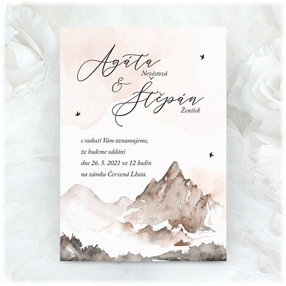 Svadobné oznámenie s horami