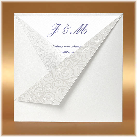 Pocket Wedding Invitations Pearl White with Roses