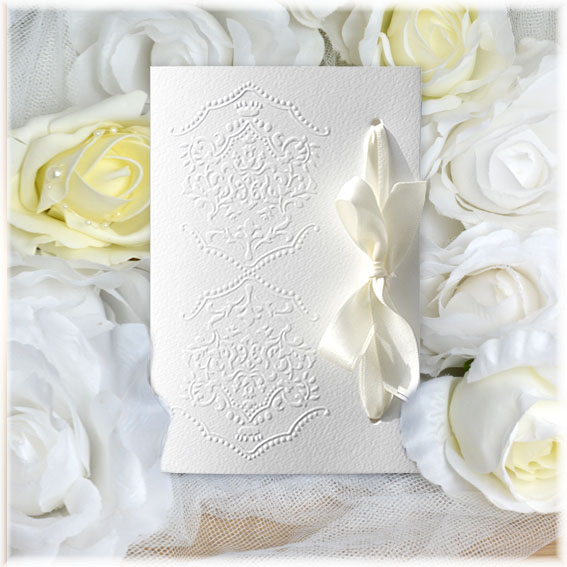 Wedding Invitations with bow and ornaments