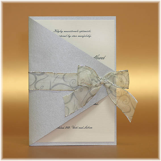 Silver Wedding Invitations with ribbon bow