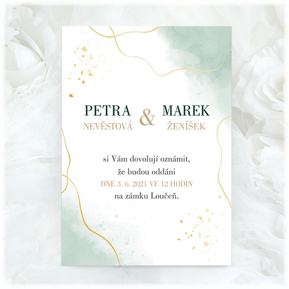 Green wedding invitation with debossing