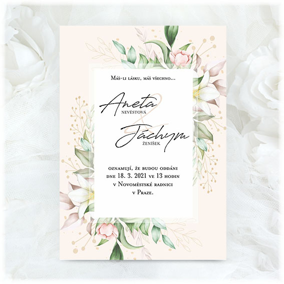 Wedding invitation with frame and flowers