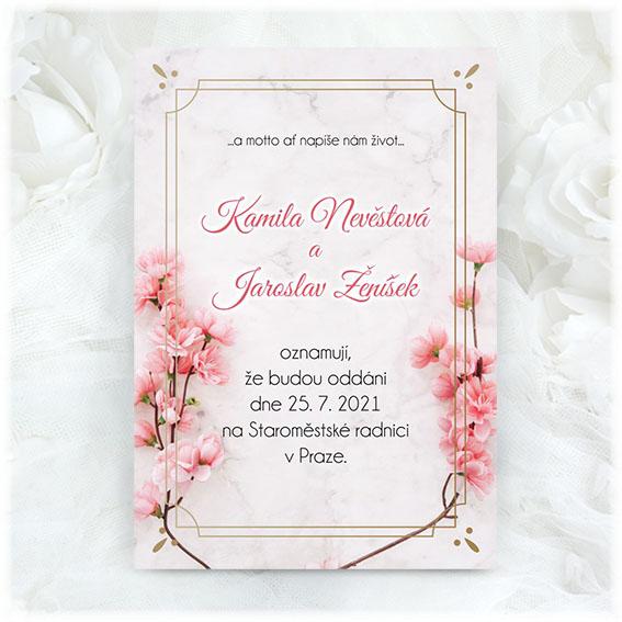 Wedding invitation with sakura blossoms