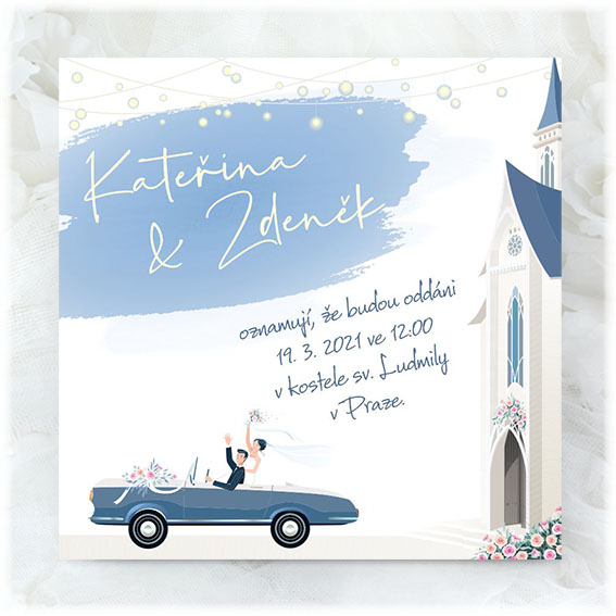 Wedding invitation with newlyweds
