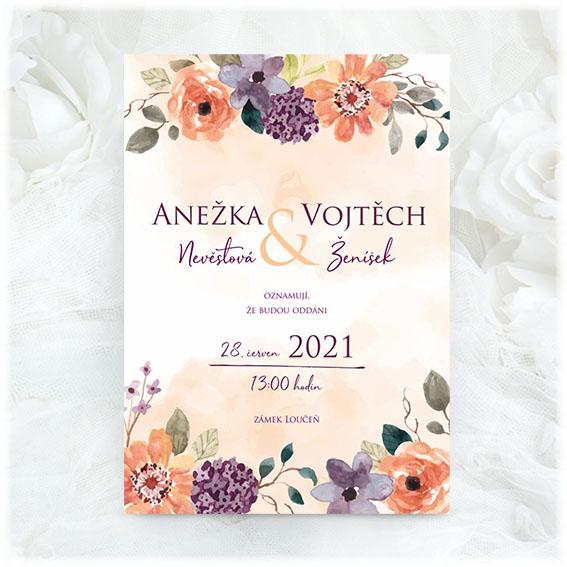 Svatební oznámení s pestrými květy