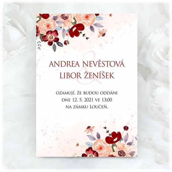 Svatební oznámení s červeno meruňkovými květy