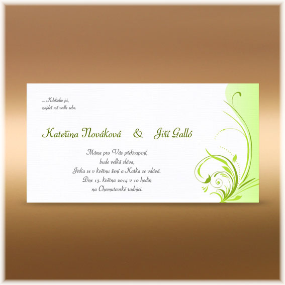 Wedding Invitations ornamental green