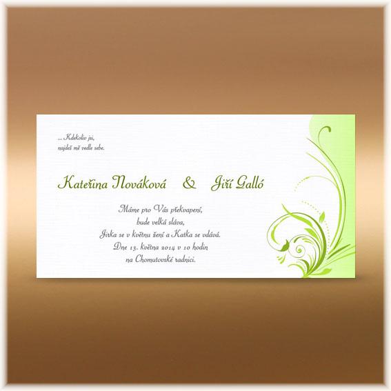 Svatební oznámení jarní motiv zelený ornament