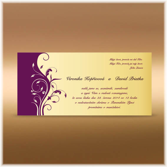 Wedding Invitations purple ornament