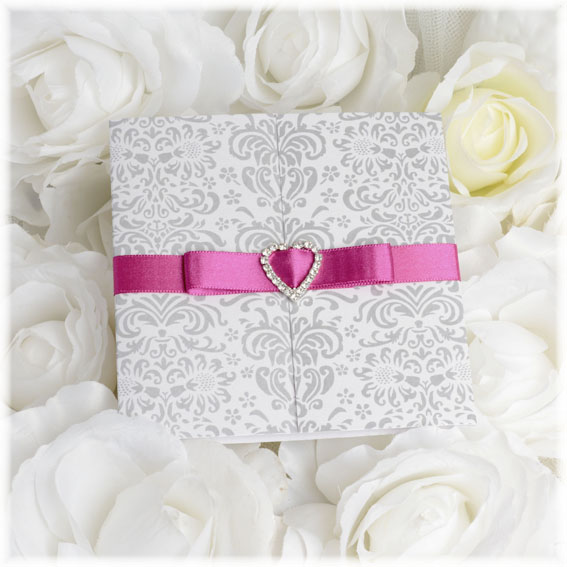 Wedding Invitations with silver grey ornaments