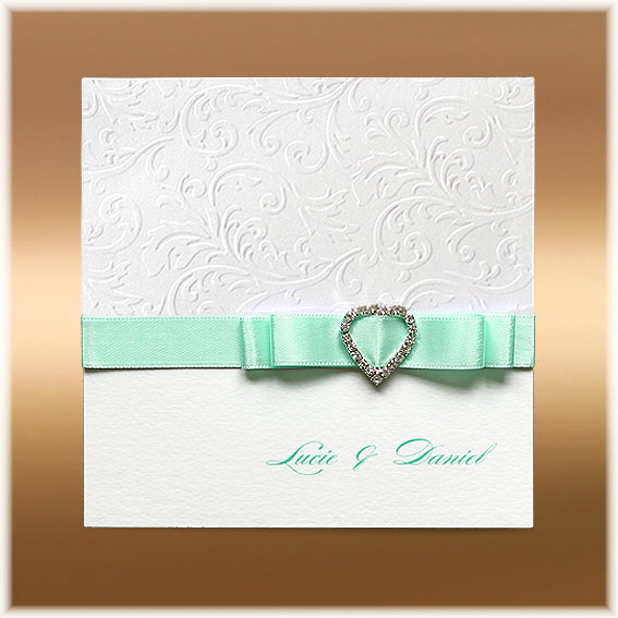 Wedding Invitations heart buckle and ribbon bow