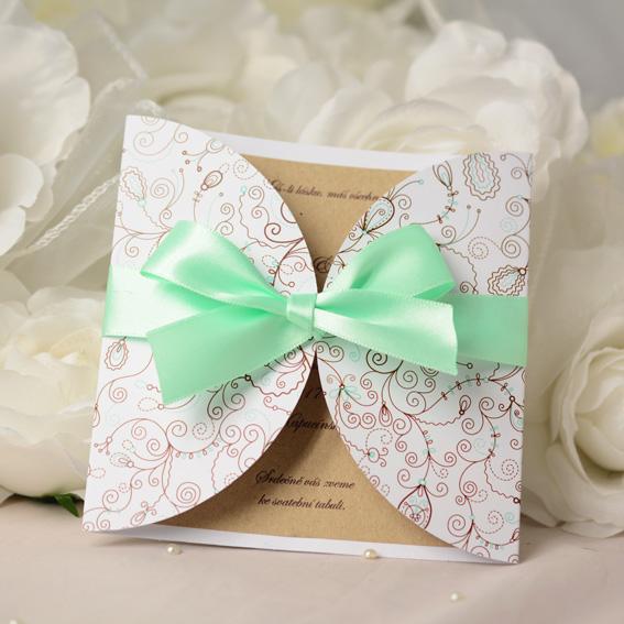 Kraft wedding invitation with jacket and mint ribbon