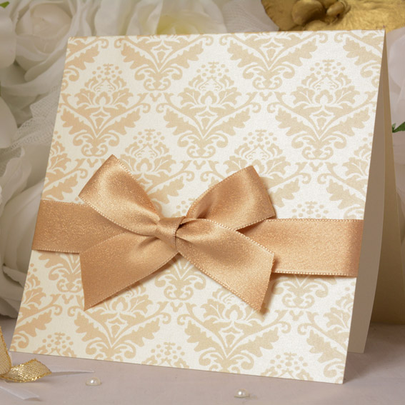 Luxury Wedding Invitations with Damash Pattern and Bow