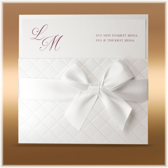 Luxusné moderné svadobné oznámenie v biele farbe