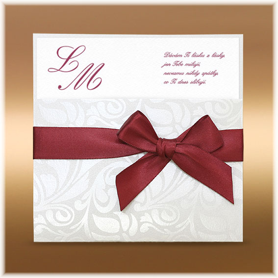 Claret Wedding Invitations with ribbon bow