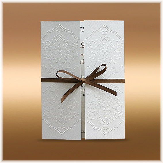 Wedding Invitations with brown ribbon and ornaments