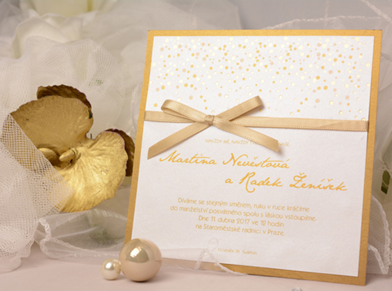 Wedding invitation with ribbon, gold  embossing and gold separate