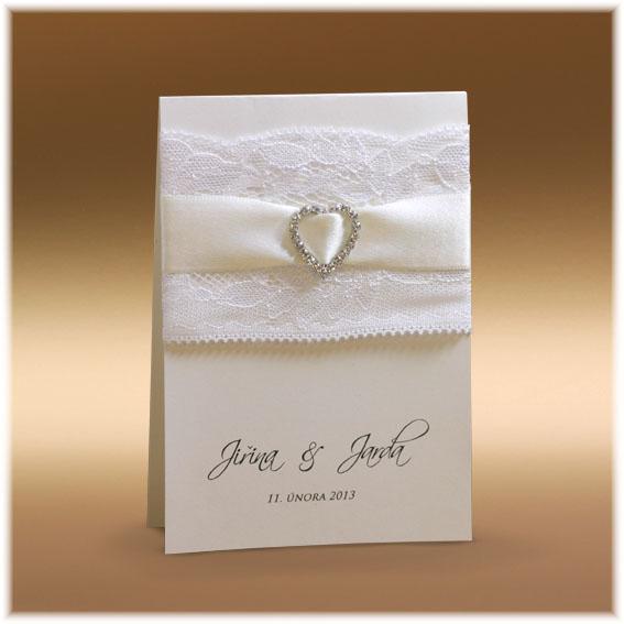 Svadobné oznámenie s čipkou a srdiečkom z kryštálov