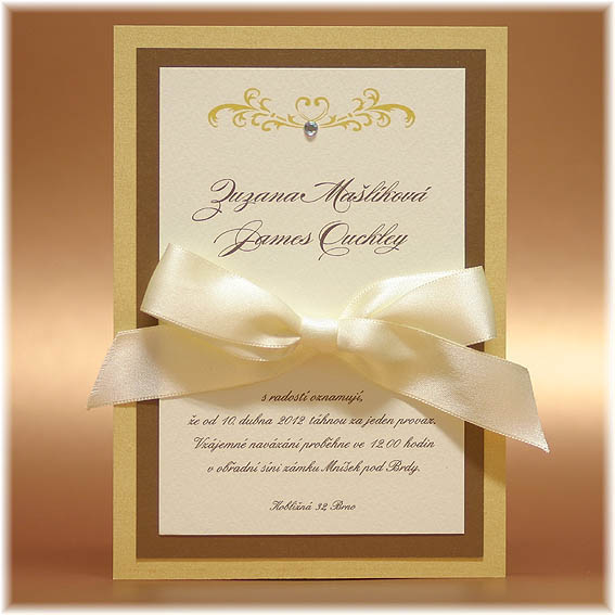 Golden Luxury Wedding Invitations with bow