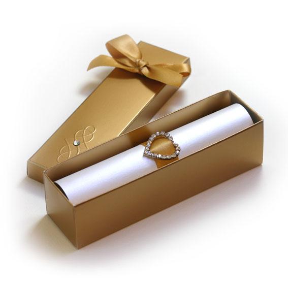 Svadobné oznámenia v zlatej krabičke