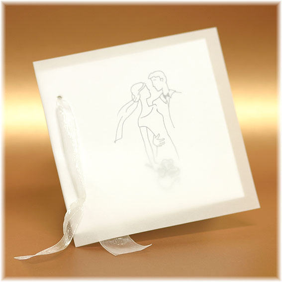 Halftransparent white Wedding Invitations with ribbon