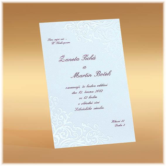Svadobné oznámenia s lesklými ornamentami  v rohoch
