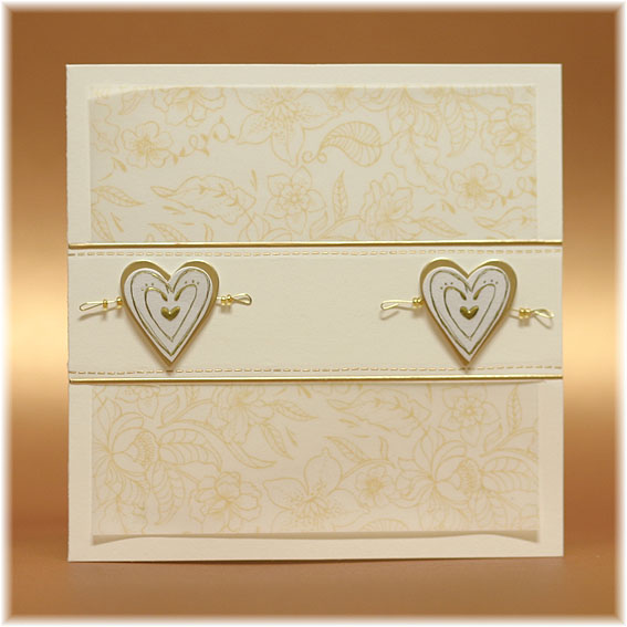 Ivory Wedding Invitations with Golden Hearts