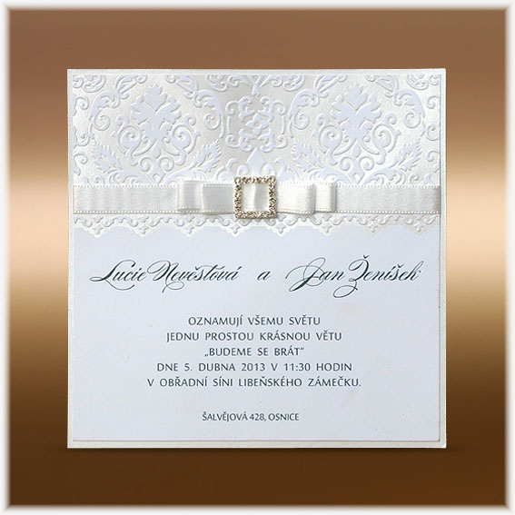 Elegant Wedding Invitations with ribbon and buckle