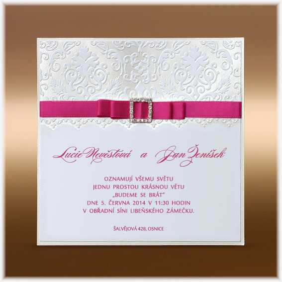 Pink Luxury Wedding Invitations with bow and buckle