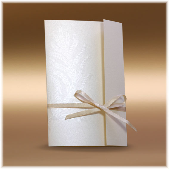 Luxury Wedding Invitations with feather and hot fix on the ribbon