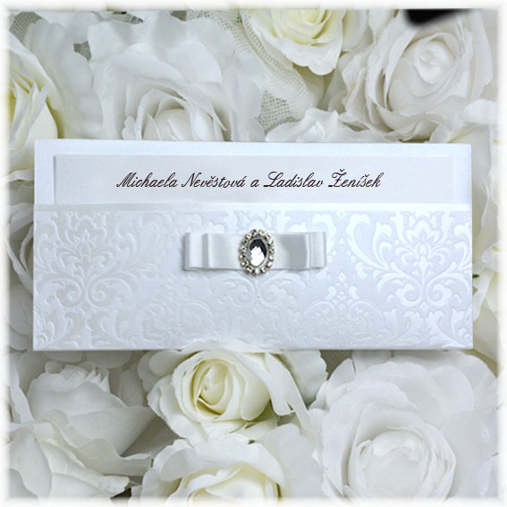 Luxury wedding invitation with brooch
