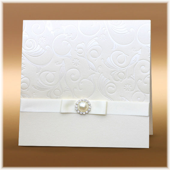 Wedding Invitations with buckle and ribbon bow