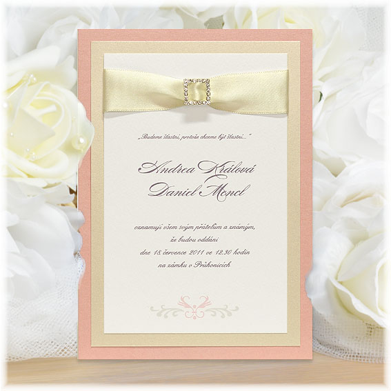 Rose Pink Wedding Invitations with buckle and ribbon