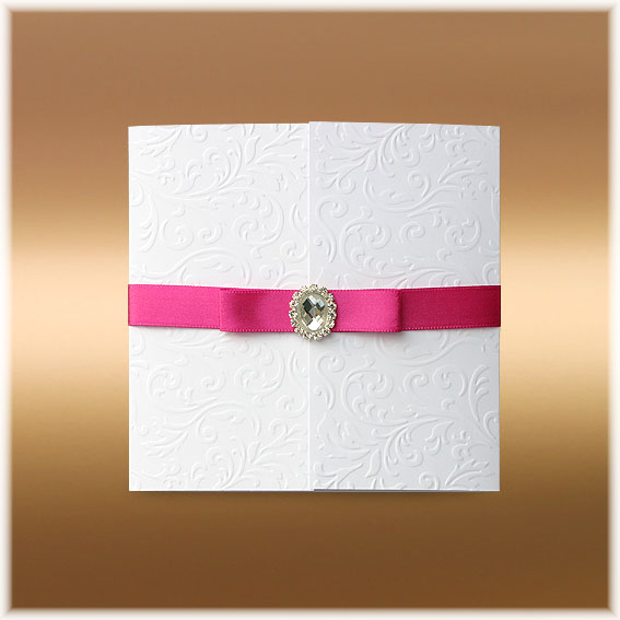 Wedding Invitations with buckle and pink ribbon bow