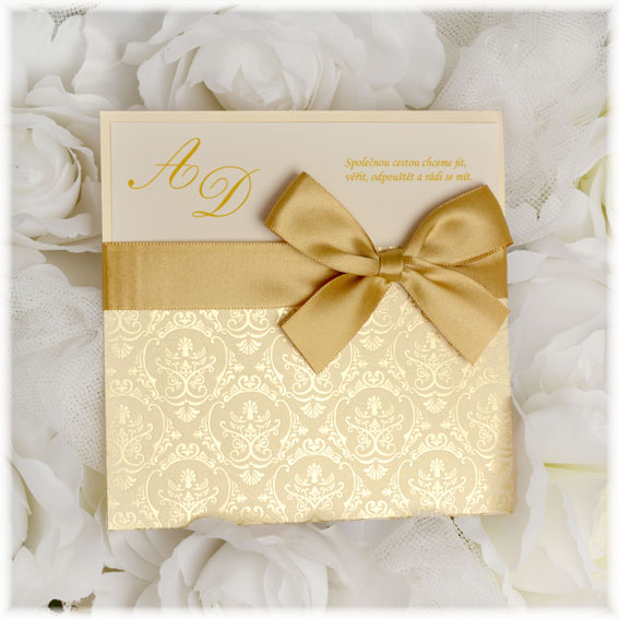 Golden Wedding Invitations with Ribbon