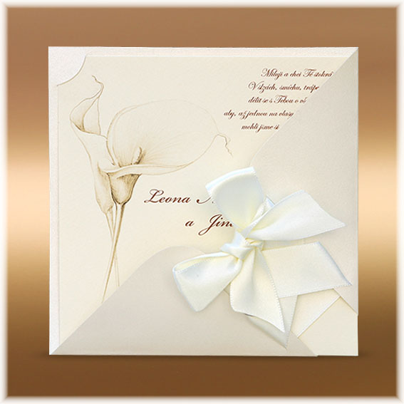 Wedding Invitation with a drawing of cala