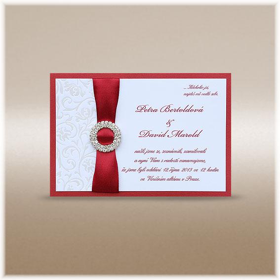 Svadobné oznámenia bordó s guľatou štrasovou sponou