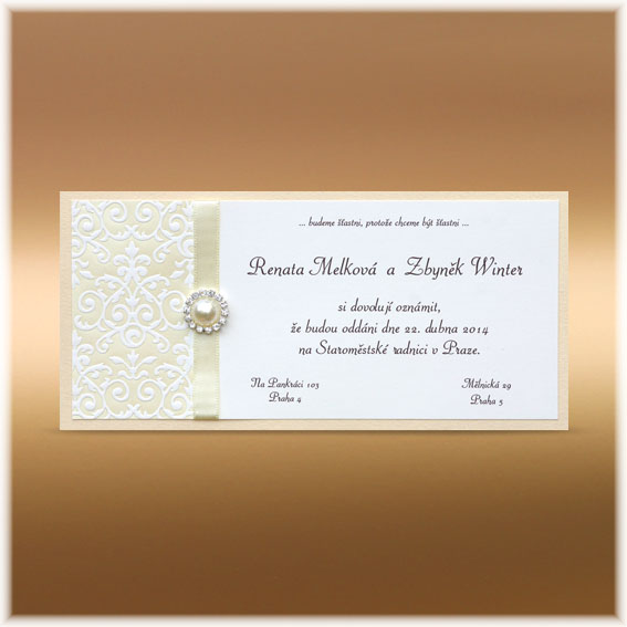 Wedding Invitations ivory with buckle and ornament