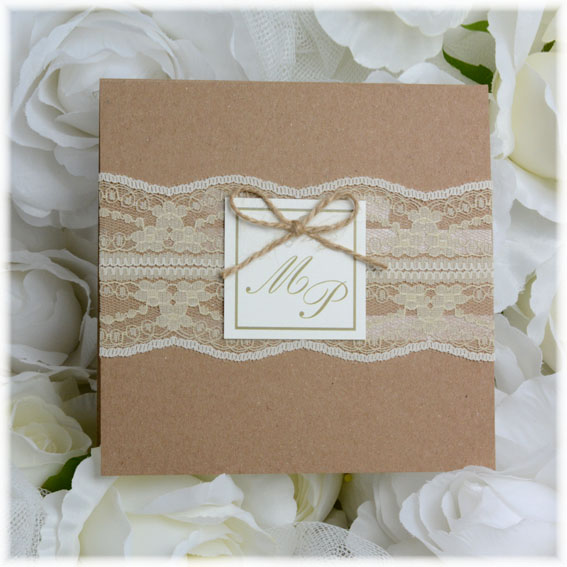 Vintage Wedding Invitation with lace