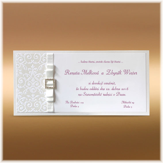 Luxury wedding invitations with bow ribbon buckle